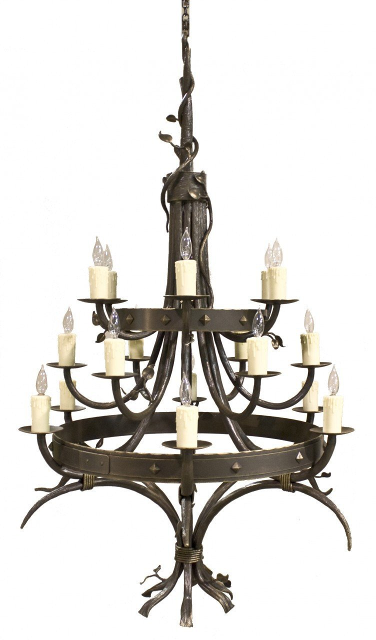 Forest Iron Chandelier Hand Rubbed Bronze Gold Accent