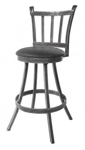 "Stone County Ironworks 952-065-FBK Montage Bar Stool (pewter finish w/ pewter accent) swivel 25"" - BarstoolDirect.com"