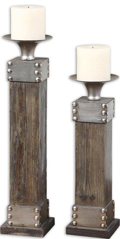 Uttermost 19668 Lican Natural Wood Candleholders, Set/2 - UTMDirect