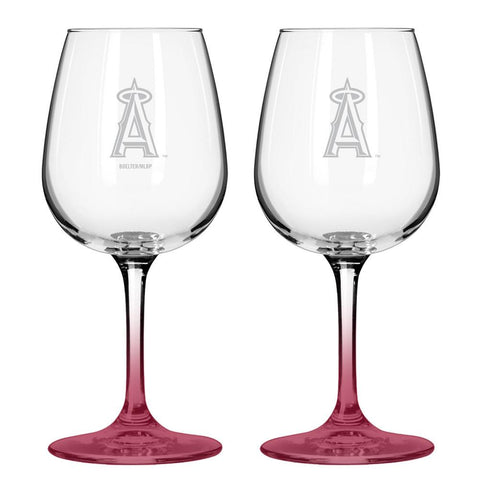 12Oz Mlb/Angels 2Pk Clear Wine - Peazz.com