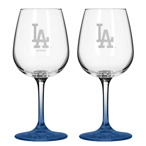 12Oz Mlb/Dodgers 2Pk Wine Set - Peazz.com
