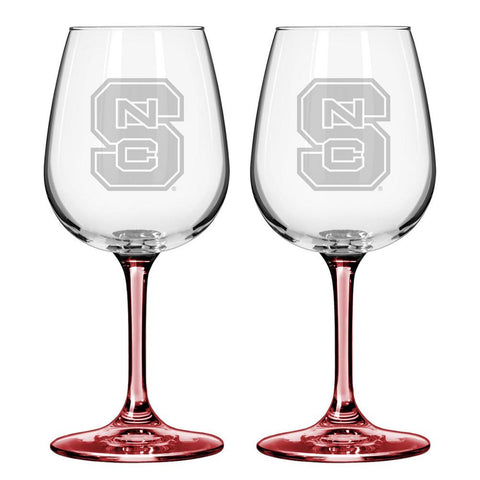 12Oz Ncaa/Nc St 2Pk Wine Set - Peazz.com