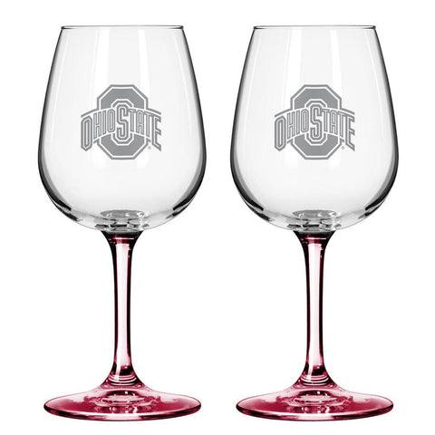 12Oz Ncaa/Ohio St 2Pk Wine Set - Peazz.com