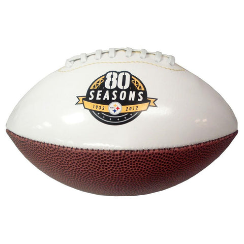 Mini Steelers 80Th Anniversary White Panel Football - Peazz.com