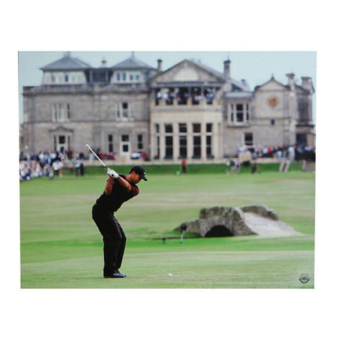 Tiger Woods 16-By-20-Inch Unframed Photo At The 2005 British Open Swinging In Front of The Famous Golf Club At St. Andrews In Scotland - Peazz.com