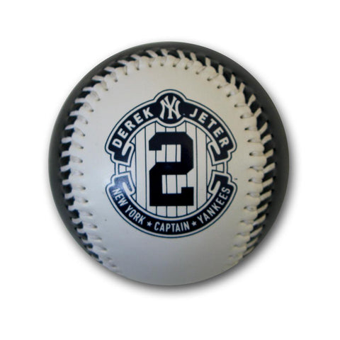 White and Blue Jeter replica Retirement logo baseball - Peazz.com