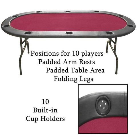 10-Xx-Ht1Rd Imperfect Texas Holdem Burgundy Felt Poker Table 83 X 44 - Peazz.com