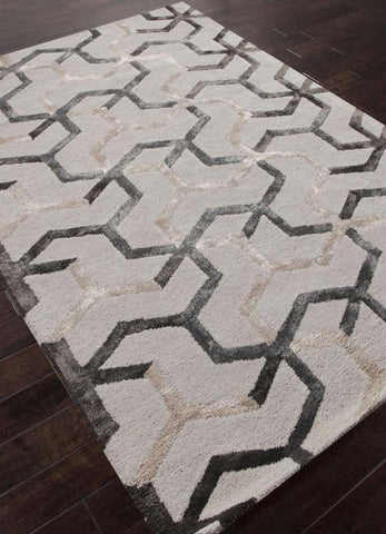 Jaipur Rugs RUG113683 Hand-Tufted Durable Wool/ Art Silk Ivory/Gray Area Rug ( 3.6X5.6 ) - Peazz.com
