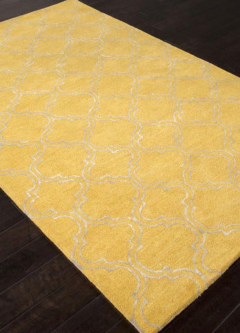 Jaipur Rugs RUG109688 Hand-Tufted Durable Wool/ Art Silk Yellow/Ivory Area Rug ( 5X8 ) - Peazz.com