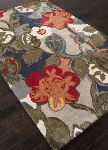 Jaipur Rugs RUG110537 Hand-Tufted Floral Pattern Wool/ Art Silk Blue/Red Area Rug ( 5X8 ) - Peazz.com