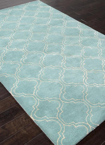Jaipur Rugs RUG113655 Hand-Tufted Durable Wool/ Art Silk Blue/Ivory Area Rug ( 9.6x13.6 ) - Peazz.com
