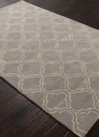 Jaipur Rugs RUG113634 Hand-Tufted Durable Wool/ Art Silk Gray/Ivory Area Rug ( 5X8 ) - Peazz.com