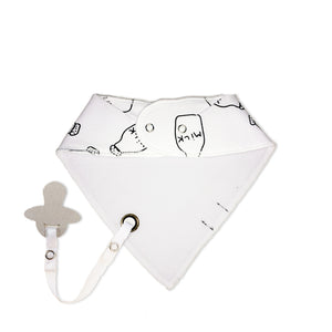white and black baby bib with dummy clip - mmm...got milk?