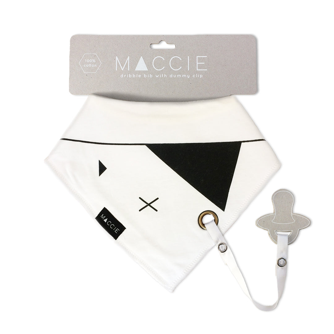 white and black baby bib with dummy clip - parker the pirate