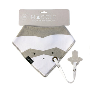 grey baby bib with dummy clip - riley the raccoon