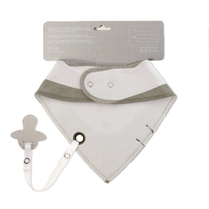 grey baby bib with dummy clip - sophie the skunk