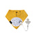 mustard yellow baby bib with dummy clip - torben the teddy