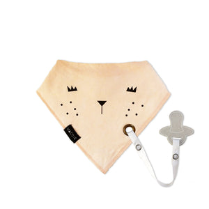 peach baby bib with dummy clip - taylor the tigress