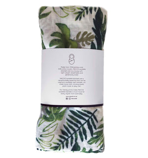tropical leaf swaddle blanket
