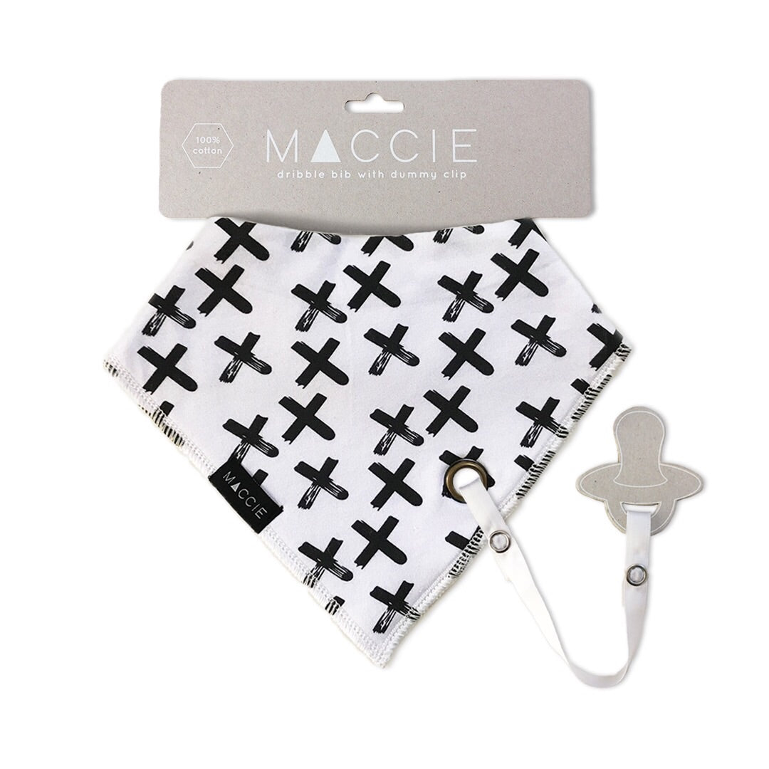 black and white cross baby bib with dummy clip - serious smooches
