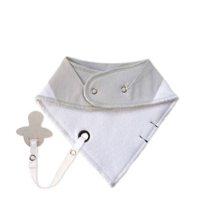 beige baby bib with dummy clip - peyton the polar bear