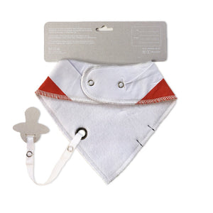 burnt orange baby bib with dummy clip - toby the tiger