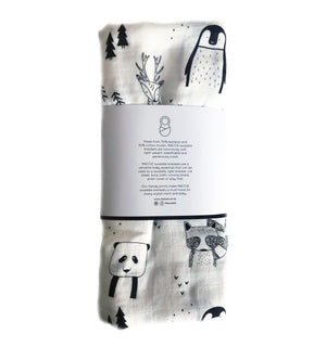 scandi animal swaddle blanket