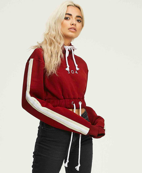 Blue Moon Cropped Hoodie Ox Blood - Hoodies - 304 Clothing - Dakota Collective