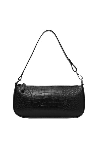Black Baguette Crocodile Print Handbag - Bag - Dakota Collective - Dakota Collective