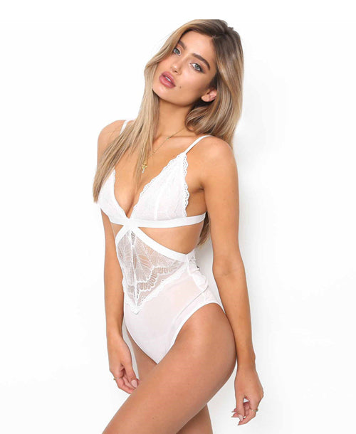 Bella Lace Cutout Bodysuit White - Bodysuits - Dakota Collective - Dakota Collective