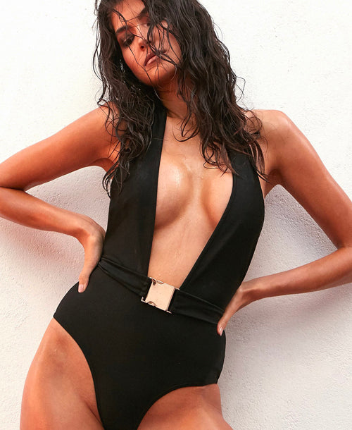 Christi Black Belted Halterneck Swimsuit - Swimsuit - Wolf & Whistle - Dakota Collective