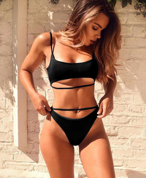 Charlotte Black High Waisted Strappy Bikini - Bikini - Dakota Collective - Dakota Collective