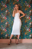 Double Layered Bodycon Midaxi Dress White - Midaxi Dress - Dakota Collective - Dakota Collective