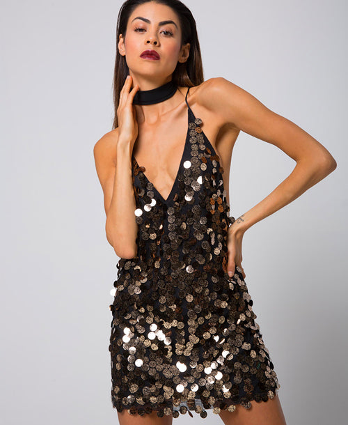 Finn Sequin Plunge Slip Dress Black/Gold - Dresses - Motel Rocks - Dakota Collective