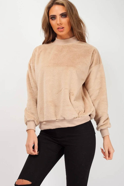 High Neck Fluffy Teddy Jumper Beige - Jumper - Dakota Collective - Dakota Collective