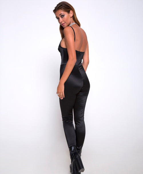 Lany Catsuit in Spandex Black - Catsuits - Motel Rocks - Dakota Collective