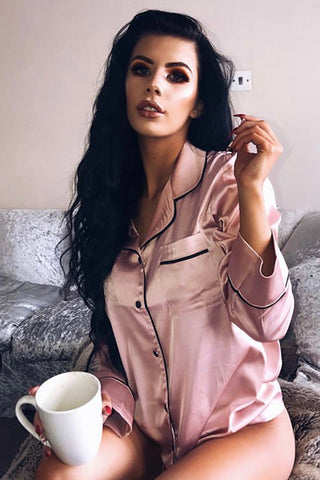Pink 'Milan' Satin Pyjama Shirt - Nightwear - Dakota Collective - Dakota Collective