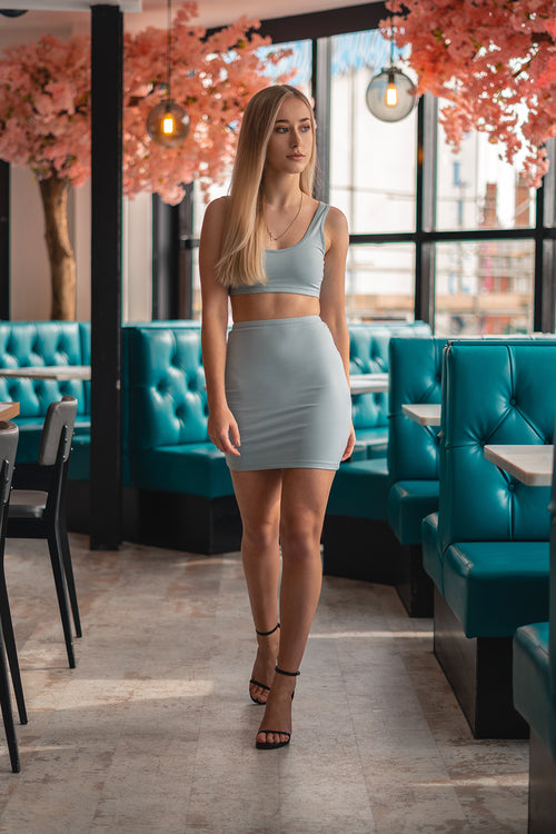 Crop and Mini Skirt Two Piece Duck-Egg Blue (Pre-Order) - Co-Ord - Dakota Collective - Dakota Collective