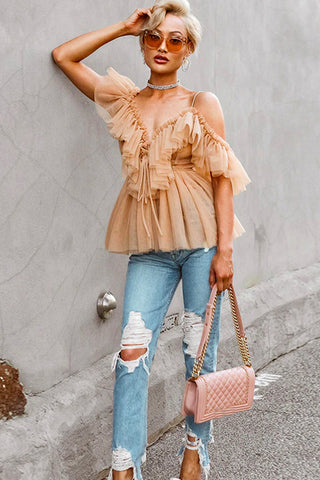Nude V Neck Ruffle Blouse (Pre-Order) - Top - Dakota Collective - Dakota Collective