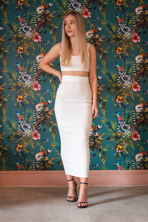 Crop and Midaxi Skirt Ribbed Two Piece White (Pre-Order) - Co-Ord - Dakota Collective - Dakota Collective