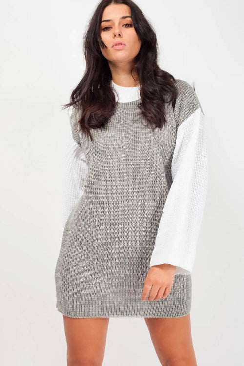 Two Tone Knitted Jumper Dress Grey/White - Dresses - Dakota Collective - Dakota Collective
