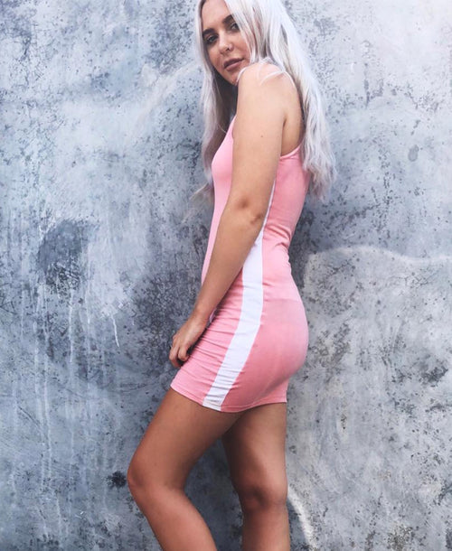 Zena Bodycon Stripe Dress Pink / White - Dresses - Motel Rocks - Dakota Collective