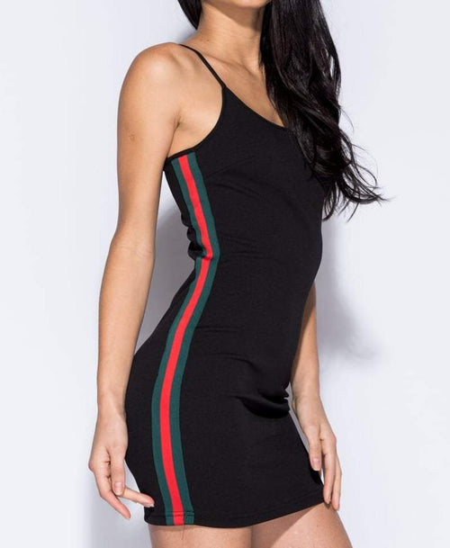 Black Side Stripe Bodycon Mini Dress - Dresses - Parisian - Dakota Collective