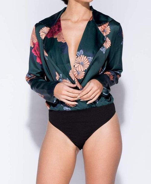 Floral Print Wrap Front Bodysuit Green - Bodysuits - Parisian - Dakota Collective