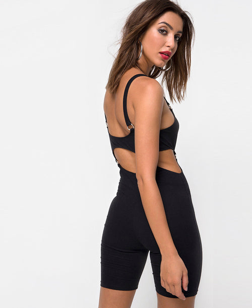Motel Rocks Jaso Black Cutout Bodycon Unitard with Ring Detailing