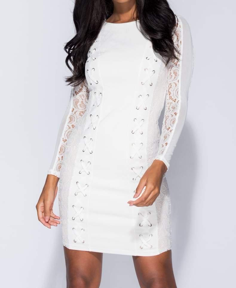 White Lace Up Detail Bodycon Dress - Dresses - Parisian - Dakota Collective