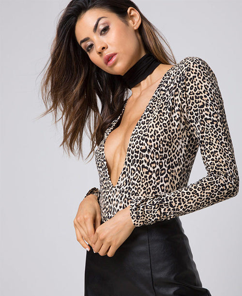 Lao Plunge Bodysuit in Rar Leopard Brown - Bodysuits - Motel Rocks - Dakota Collective