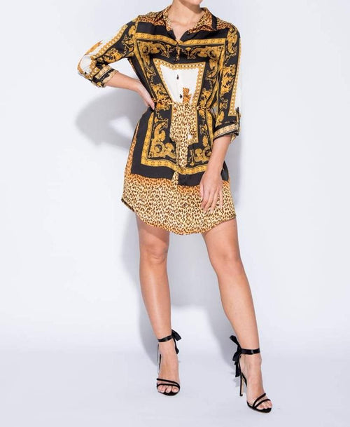 Leopard Scarf Print Belted Shirt Dress - Dresses - Parisian - Dakota Collective