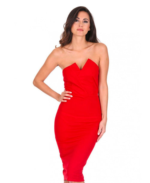 Notch Front Bodycon Midi Dress Red - Dresses - AX Paris - Dakota Collective