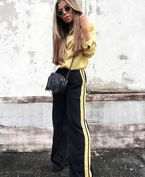 Yellow Twin Stripe Track Pants - Trousers - Neon Rose - Dakota Collective